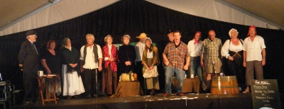 Cast of the Auckland Folk Festival 2011 performance of North to South on stage